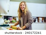 young adult woman baking in the ... | Shutterstock . vector #240172261