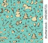 hand drawn christmas pattern | Shutterstock .eps vector #240180721