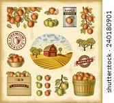 vintage colorful apple harvest... | Shutterstock .eps vector #240180901