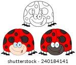 smiling ladybird cartoon...