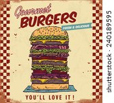 vintage gourmet hamburger sign  ... | Shutterstock .eps vector #240189595