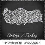 map of turkey as chalkboard   | Shutterstock . vector #240200314