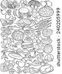 vector doodles of food... | Shutterstock .eps vector #240205999