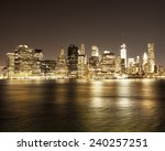 downtown nyc skyline at night  | Shutterstock . vector #240257251