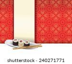 Sushi plate on red background with menu label - stock photo