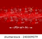 valentine with fly hearts... | Shutterstock . vector #240309079
