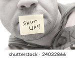 a post it in a man mouth saying ... | Shutterstock . vector #24032866