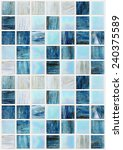 Blue Square Tiles With Various...