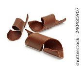 chocolate curls on white... | Shutterstock . vector #240435907