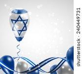 flag of israel on balloon.... | Shutterstock .eps vector #240449731