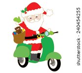 santa claus is riding a green... | Shutterstock .eps vector #240454255