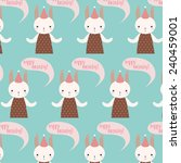 pattern with cute cartoon baby... | Shutterstock .eps vector #240459001