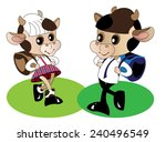 comical image of two calves in... | Shutterstock .eps vector #240496549