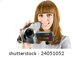 Girl Using Video Camera ...