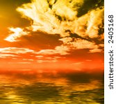 Wonderful colorful sunset cloudy seascape over crystal clear water - stock photo