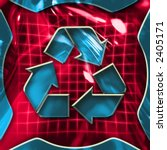 Colorful abstract recycling symbol illustration - stock photo