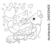 cartoon merry kitten with fish. ... | Shutterstock .eps vector #240535405