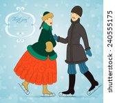 vector postcard with retro... | Shutterstock .eps vector #240555175