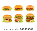 big beautiful juicy burger with ... | Shutterstock . vector #240583381