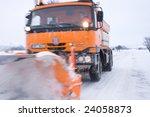 A Orange Snow Plow Truck Ready...