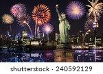 manhattan skyline  the statue... | Shutterstock . vector #240592129
