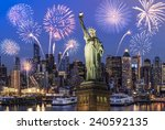 manhattan skyline  the statue... | Shutterstock . vector #240592135