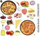 tasty pizza and ingredients... | Shutterstock . vector #240616345
