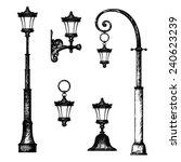 Sketch Of Street Light  Vector...