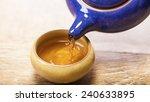 Asian Tea Set On Bamboo Mat...