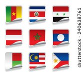set of world sticker flags.... | Shutterstock . vector #240638761