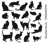 vector silhouettes of cats  | Shutterstock .eps vector #240640294