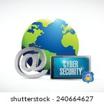 tablet cyber security world... | Shutterstock .eps vector #240664627