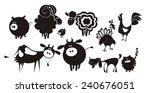 Stock vector farm animals vector silhouettes 240676051