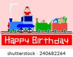 young birthday girl on a train... | Shutterstock . vector #240682264