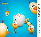 funny easter eggs chicks  ... | Shutterstock .eps vector #240693019