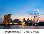 Singapore Skyline at dusk. - stock photo