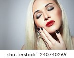 beautiful blond woman with make ... | Shutterstock . vector #240740269
