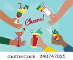 hands holding cocktail drinks ... | Shutterstock .eps vector #240747025