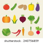 vegetable flat icon set. the... | Shutterstock .eps vector #240756859