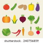 vegetable flat icon set. the... | Shutterstock .eps vector #240756859