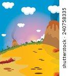cartoon volcanic landscape. | Shutterstock . vector #240758335