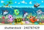 funny marine animals in the sea ... | Shutterstock .eps vector #240787429