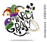 hand drawn mardi gras type with ... | Shutterstock .eps vector #240837691