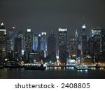 A current night time view of the changing New York City skyline. - stock photo
