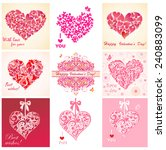 greeting cards with hearts | Shutterstock .eps vector #240883099