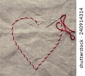 heart shape embroidered on... | Shutterstock . vector #240914314