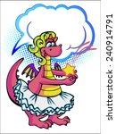 girl dinosaur caught a falling...   Shutterstock .eps vector #240914791