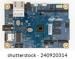 Small photo of LJUBLJANA, SLOVENIA - JANUARY 1, 2015: Photo showing a development board based on Intel x86 architecture which is compatible with very popular Arduino Integrated Development Environment - IDE.