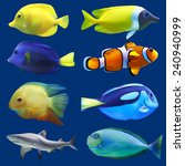 Set Of Tropical Fish. Vector...