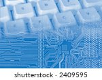 blue background with electronic ... | Shutterstock . vector #2409595